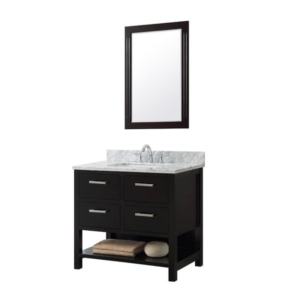 Contemporary Style 36-inch Single Sink Bathroom Vanity in Espresso Finish with Framed Mirror