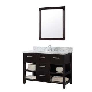 Contemporary Style 48-inch Single Sink Bathroom Vanity in Espresso Finish with Framed Mirror