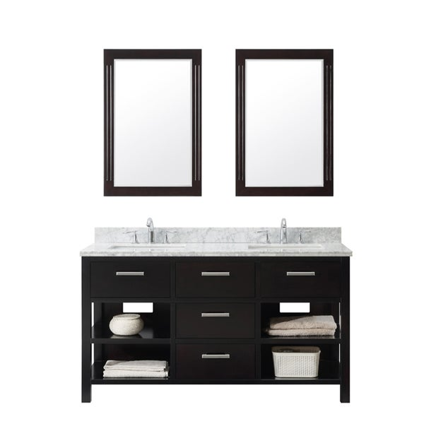 Contemporary Style 60-inch Double Sink Bathroom Vanity in Espresso Finish with Dual Framed Mirrors