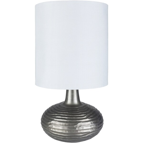 Alvo Table Lamp with Silver Base and Off-White Shade