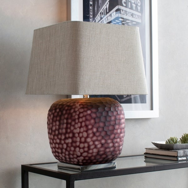 Timete Frosted Purple Glass 24.5-inch Table Lamp