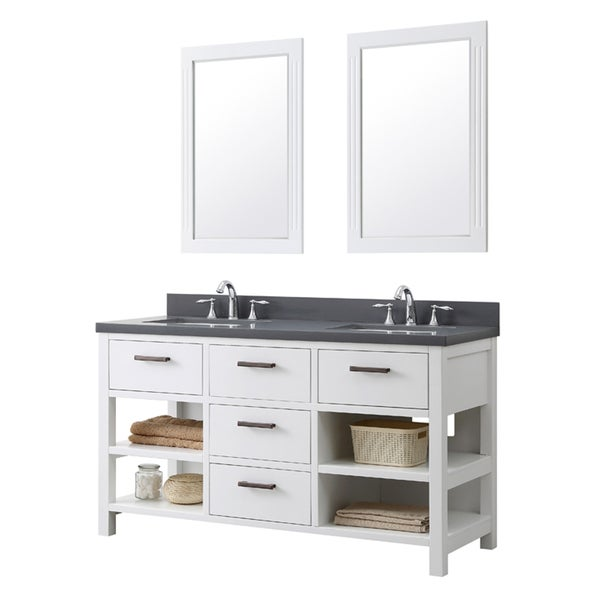 Contemporary style 60 inch double sink bathroom vanity in for 60 inch framed mirror