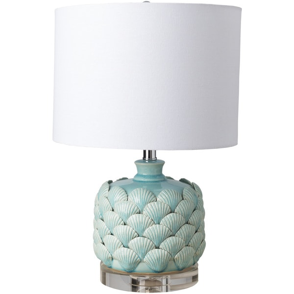 Kingston Peak Table Lamp with Blue Base and White Shade