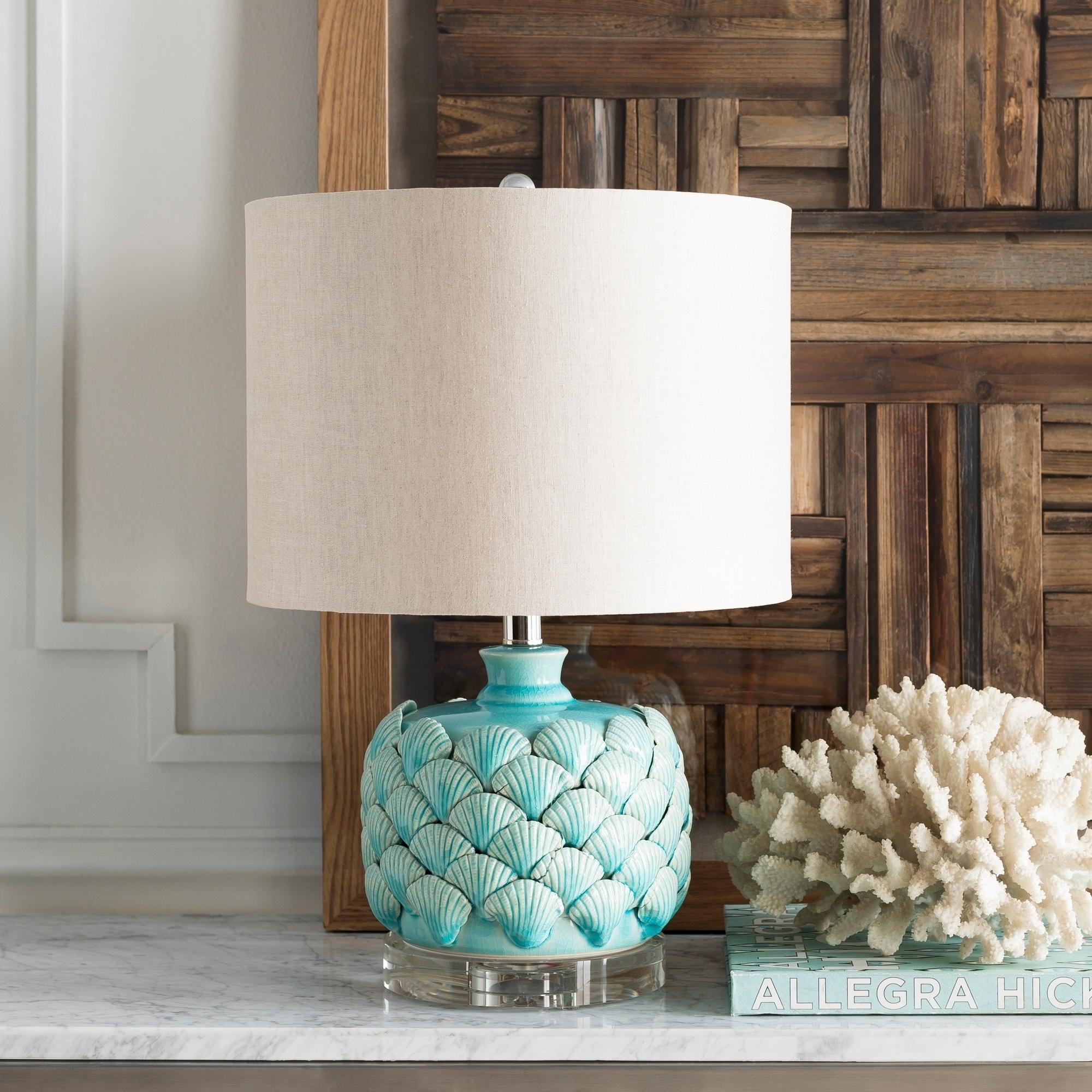 Kingston Peak Aqua Seashell 20.5-inch Table Lamp (Kingston Peak-TBL)