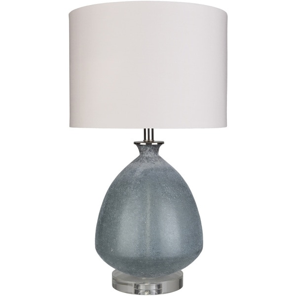 Melfa Table Lamp with Blue/Clear Base and White Shade