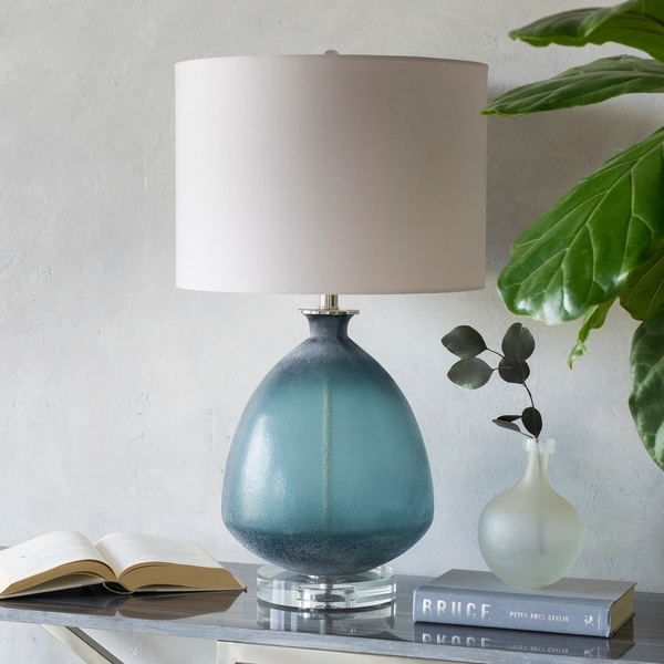 Melfa Teal Sandblasted Glass 27.5-inch Table Lamp