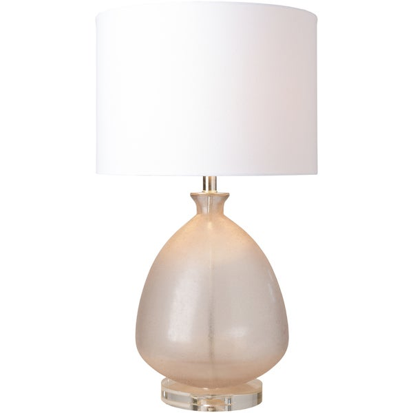 Sorvoth Table Lamp with Pink/Clear Base and White Shade