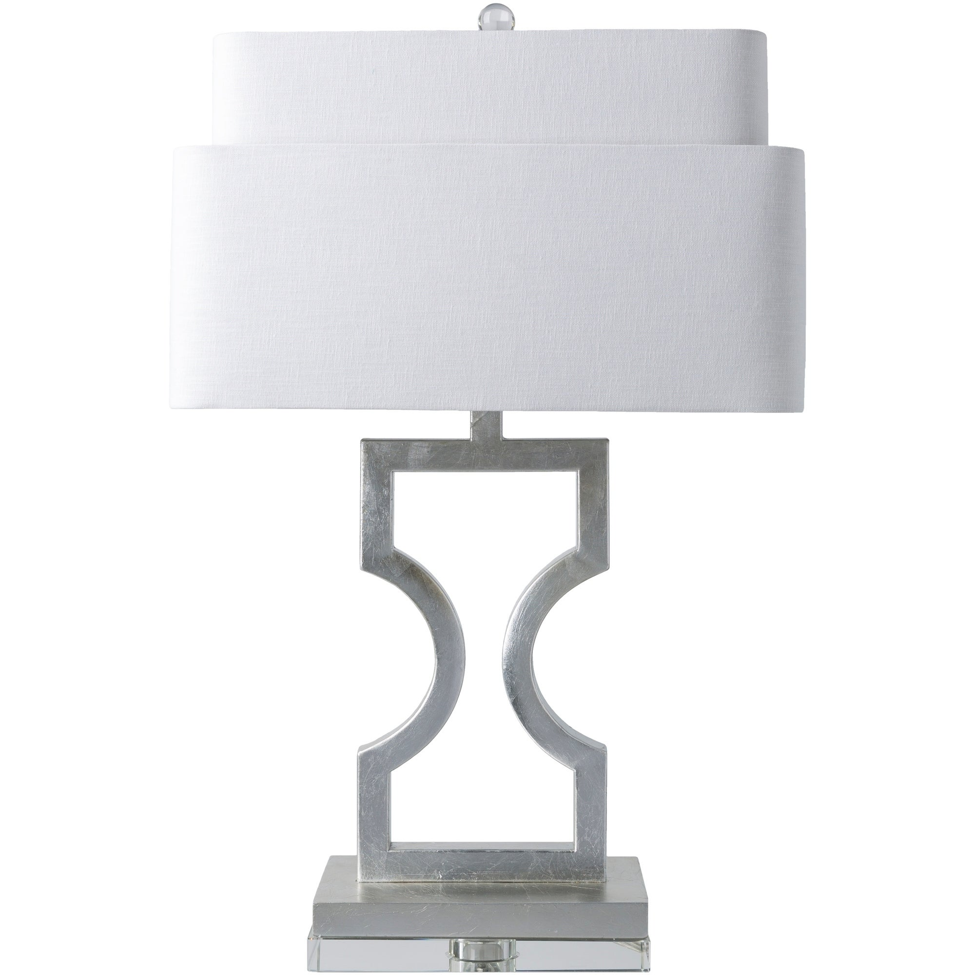 Cerbera Table Lamp With Silver Base And White Shade
