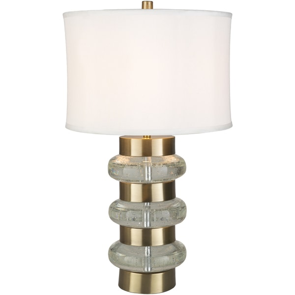 Derinda Table Lamp with Gold/Clear Base and White Shade