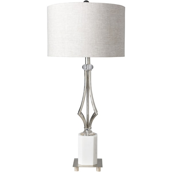 Simeon Table Lamp with Silver Base and Grey Shade