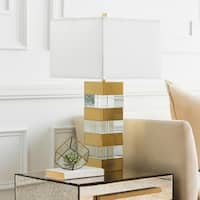 Firion Table Lamp with Brown/Clear Base and White Shade