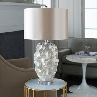 Vinton Table Lamp with White Base and Gold Shade