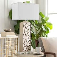 Grissom Table Lamp with Silver Base and White Shade