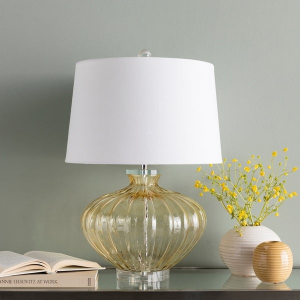 Howley Clear Yellow Glass 23.5-inch Table Lamp