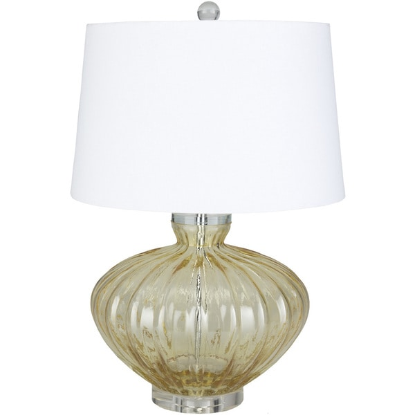 Howley Table Lamp with Yellow/Clear Base and White Shade