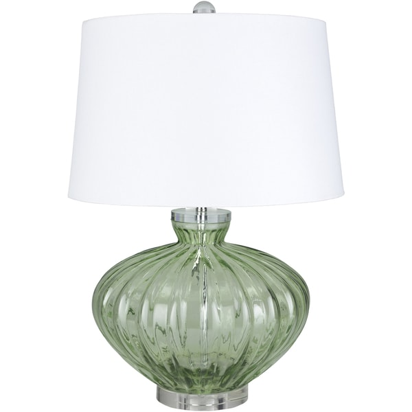 Kelvann Table Lamp With Green Clear Base And White Shade Free