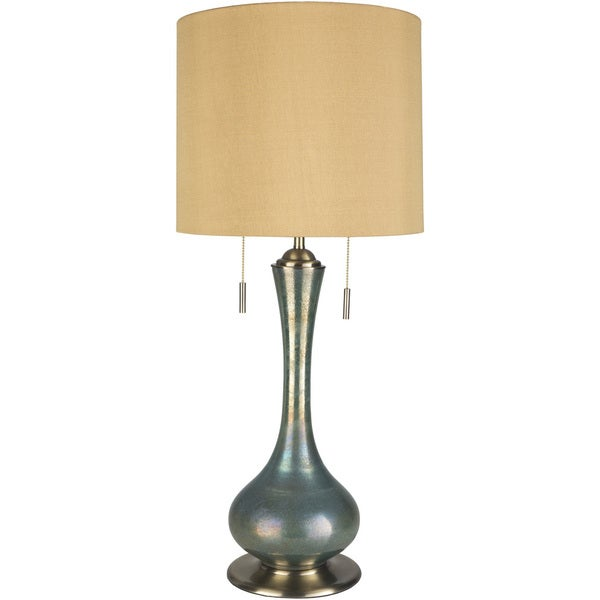 Sesses Table Lamp with Green Base and Gold Shade