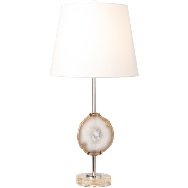 Calistoga Table Lamp with Silver Base and White Shade