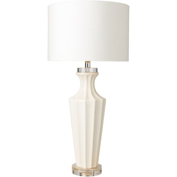 Bulmer Table Lamp with White Base and White Shade