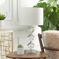 Alstonia Table Lamp with Silver/Clear Base and White Shade