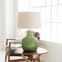 Wyther Table Lamp with Green Base and Beige Shade