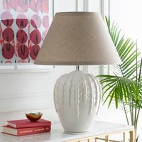 Marquart Table Lamp with White Base and Beige Shade