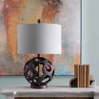 Zulway Table Lamp with Brown Base and Off-White Shade
