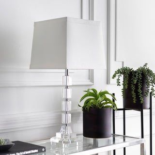 Velizh Table Lamp with Silver/Clear Base and White Shade