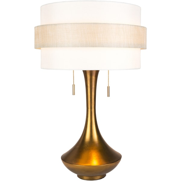 Heniria Table Lamp with Gold Base and White Shade