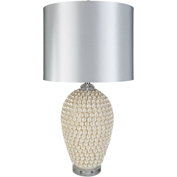 Thorpe Table Lamp with Off-White Base and Silver Shade