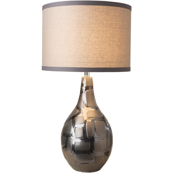 Fenelon Table Lamp with Silver Base and Grey Shade