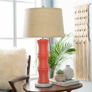 Imerre Table Lamp with Orange Base and Beige Shade