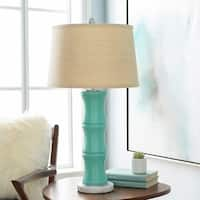 Carmine Table Lamp with Blue Base and Beige Shade
