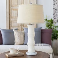 Othirra Table Lamp with White Base and Beige Shade