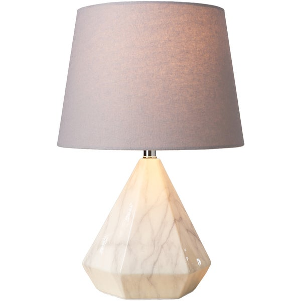 Macrinus Table Lamp with White Base and Grey Shade