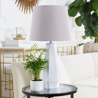 Lozros Table Lamp with White Base and Grey Shade
