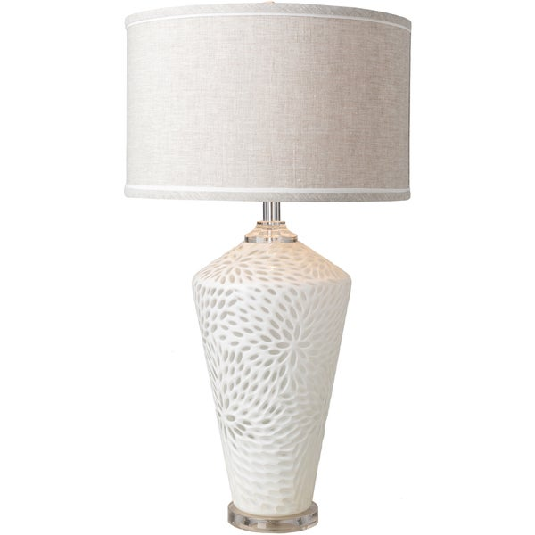 Veliko Table Lamp with White Base and Tan Shade
