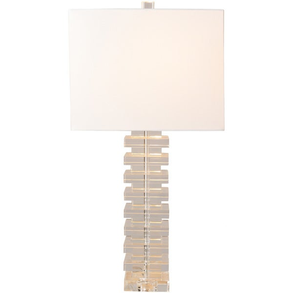 Caidrine Table Lamp with Silver/Clear Base and White Shade