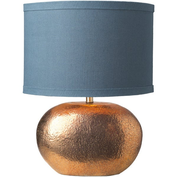 Gwedhal Table Lamp with Gold Base and Blue Shade