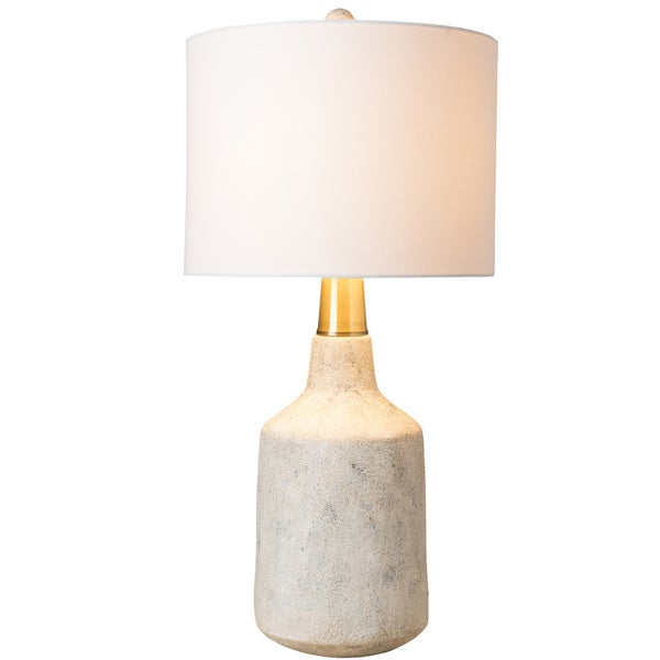 Udelo Table Lamp with White Base and White Shade