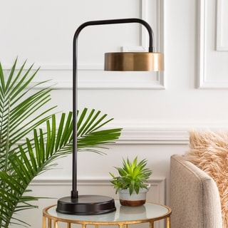 Devdan Table Lamp with Brown Base and Gold Shade