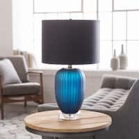 Enneti Table Lamp with Blue Base and Black Shade