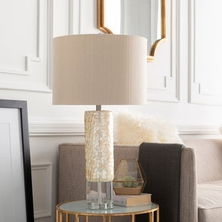 Padley Table Lamp with Tan Base and Beige Shade