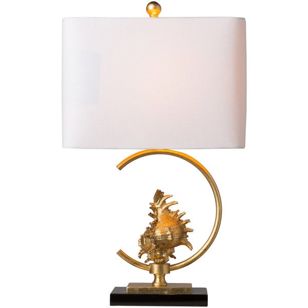 Dwedhah Table Lamp with Gold Base and White Shade