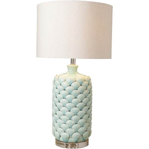 Alba Table Lamp with Blue Base and White Shade