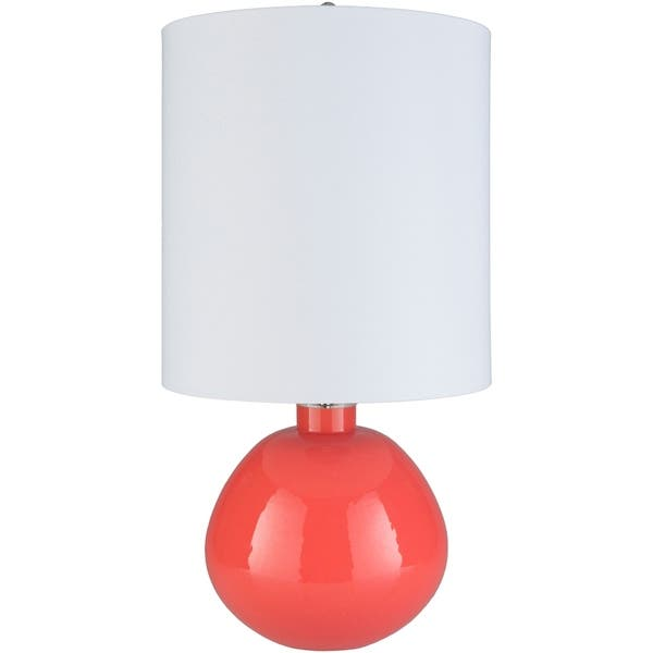 Nitendis Table Lamp With Red Base And White Shade