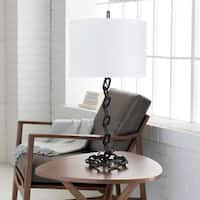 Zaanne Table Lamp with Black Base and White Shade