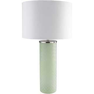 Velvel Table Lamp with Green Base and White Shade