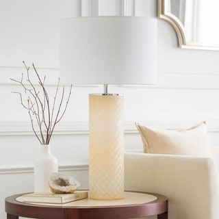 Mosheth Table Lamp with Tan Base and White Shade