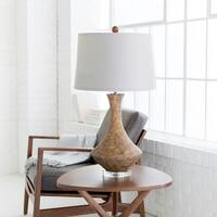 Luis Table Lamp with Tan Base and White Shade